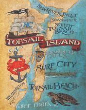 Topsail Island NC beach map Print-Poster art decor vintage style  artist  surf