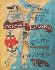 Details about Topsail Island NC beach map Print-Poster art decor vintage on map of ocean sands nc, map of nc beaches, caswell island nc, map of emerald isle nc, north topsail beach nc, map of historic downtown wilmington nc, map of quebec city, canada, map of long beach nc, map of surf city nc, north carolina map nc, map of onslow beach nc, map of lake hiwassee nc, map of porters neck nc, map of ft fisher nc, map of north topsail island beach, map of brunswick island nc, showing map of topsail beach nc, map of richlands nc, map of harbor island nc, tip of topsail beach nc,