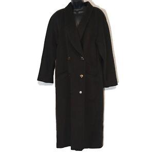 Louis-Feraud-vintage-coat-wool-cashmere-full-brown-US-8-UK-12-heavy-West-Germany