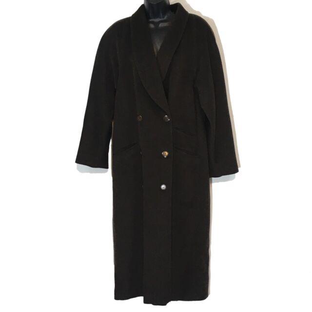 Louis Feraud vintage coat wool cashmere full brown US 8 UK 12 F 40 West Germany