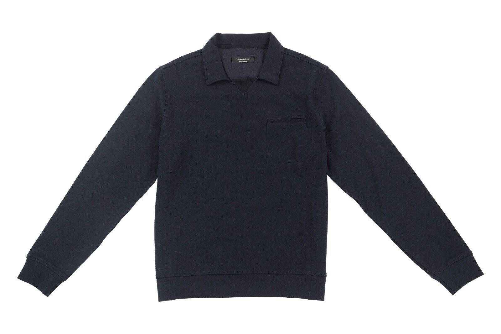 Ermenegildo Zegna Pure Cashmere 38US/48EU Long Sleeve Polo Sweater Navy Blau