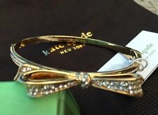 NEW KATE SPADE PAVE CRYSTALS LOVE NOTES LARGE BOW BANGLE BRACELET ~  Gold