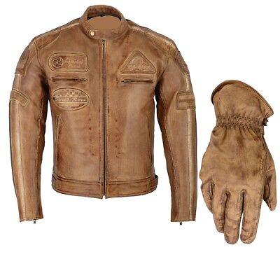 Motorrad & Schutzkleidung Herren Retro Biker Lederjacke