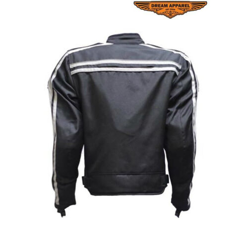 Biker Jacket Black /& Gray Men Sizes Motorcycle Textile Reflective Zip Coat New