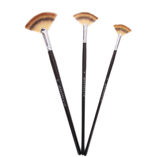 3 Size Fan Brush Pen for Oil Acrylic Water Painting Tool Artist Wooden Handle