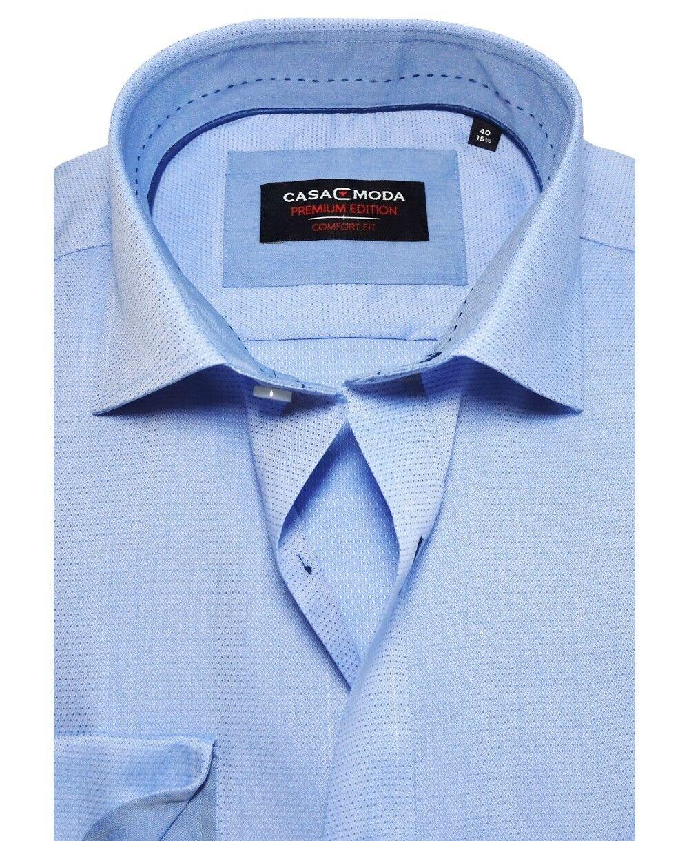 Casa Moda Comfort Fit Premium Langarmhemd blau mit feiner Struktur Struktur Struktur Gr. 40 bis 54  | Deutsche Outlets  58b642