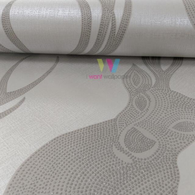 Rasch Cabeza de Ciervo Papel Pintado Anima Topos Moderno Metálico Glitter Motivo
