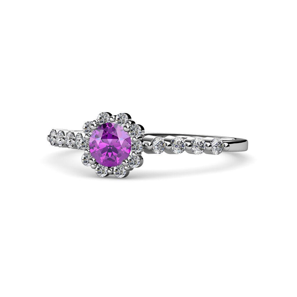 Round Amethyst Diamond Floral Women Halo Engagement Ring 14K gold JP 68352