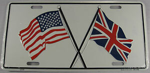 UNION JACK & USA FLAG LICENSE PLATE UK AMERICAN L163