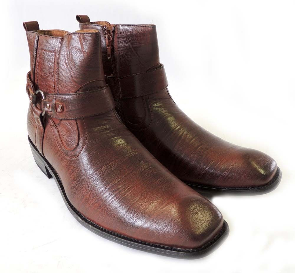 NEW MENS STYLISH ANKLE BOOTS LEATHER ZIPPERED  BUCKLE STRAPS DRESS SHOES   BROWN