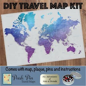 DIY Vibrant Violet World Push Pin Travel Map Kit | eBay