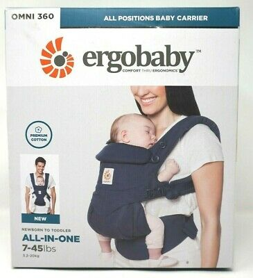 ERGOBaby OMNI 360 Cool Air Mesh ALL-IN-ONE 7-45LBS Baby Carrier Slings Deep Blue