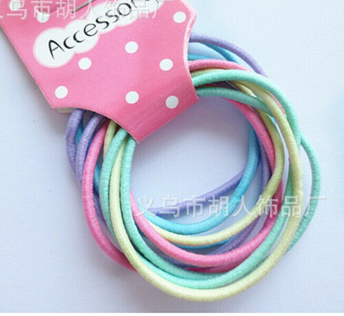 10 Girls Sngless Cotton Hair Ties Hair bands For Ponytail Holder Mixed Colour