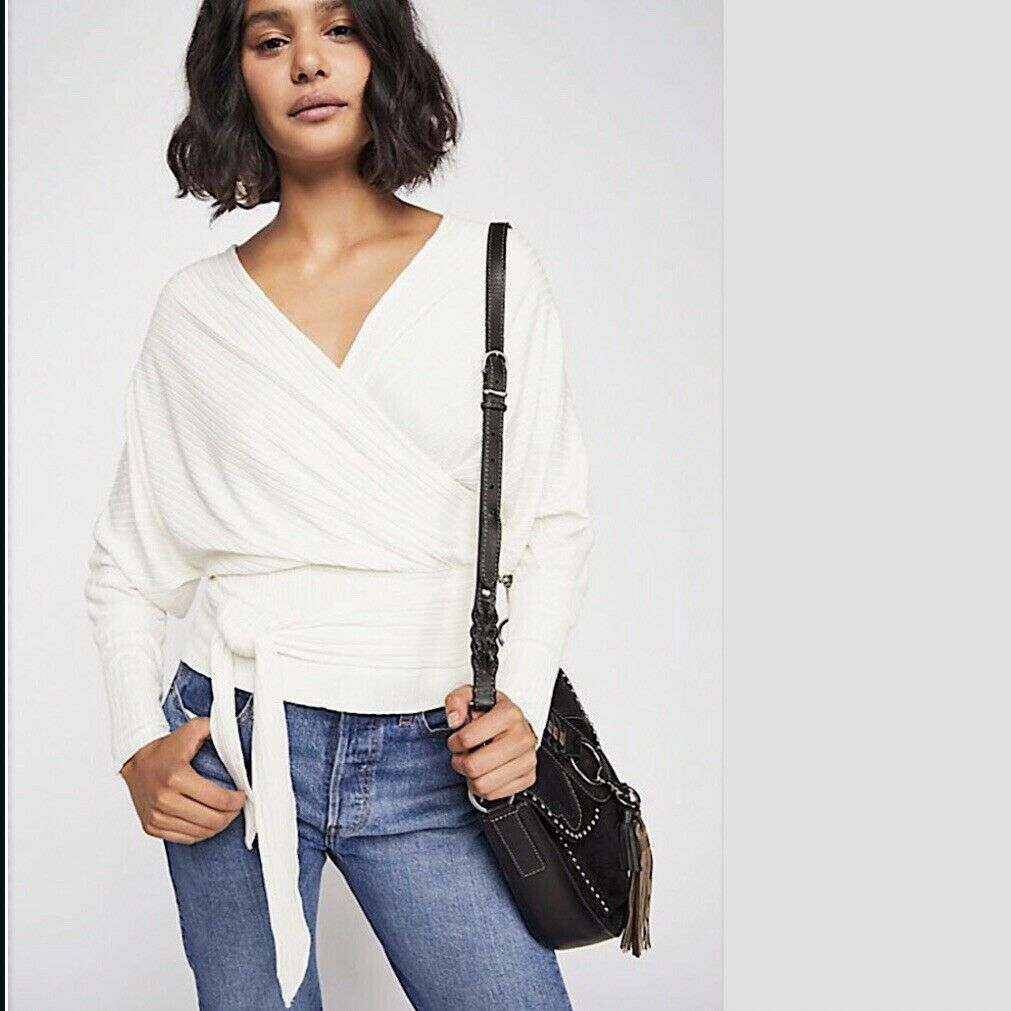 NWT Free People East Coast Wrap Tee Top - Ivory Large L OB846782