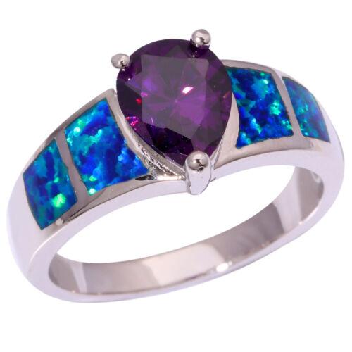 HOT blue fire opal Amethyst Silver Women Jewelry Gemstone Ring Sz 7-9 OJ8936