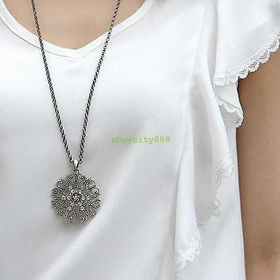 Occident Fashion Retro Hollow Out Flower With Clear Crystal Long Chain Necklace