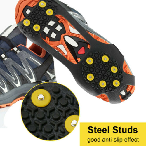 Details about  /Grips Anti Slip On Over Shoe Boot Studs Crampons Cleats Spikes Grippers S-XL
