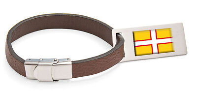 Accurato Dorset Bandiera In Pelle Bagagli Tag In Acciaio Inciso Testo- I Cataloghi Saranno Inviati Su Richiesta