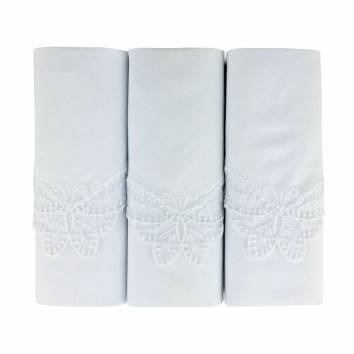 3 Pack Women/'s//Ladies White Handkerchiefs With Butterfly Lace Corners