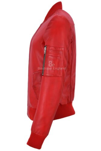 Ladies Bomber Leather Jacket Red Retro Pilot Casual Top Real Leather Jacket 2348