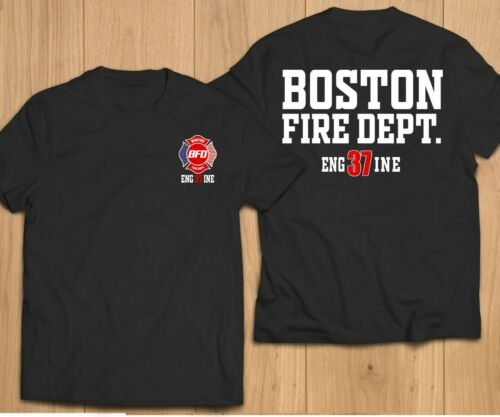 New Fire Department Boston City Massachusetts Engine 37 FireFighter Resc T-Shirt