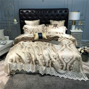 Luxury-140S-Satin-Silk-Bedding-Set-Lace-Cover-Egyptian-Cotton-Bed-Fitted-Sheet