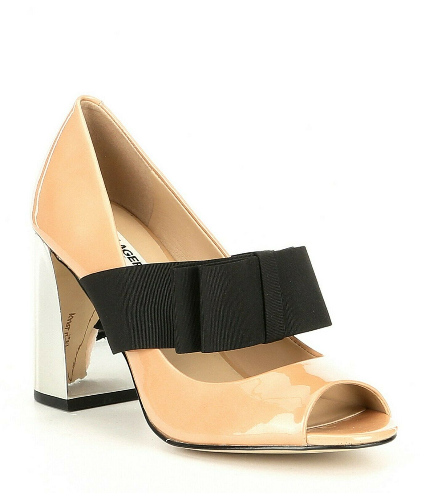 New Karl Lagerfeld Nude Patent Leather Everett Almond High Heel shoes Sz 7.5
