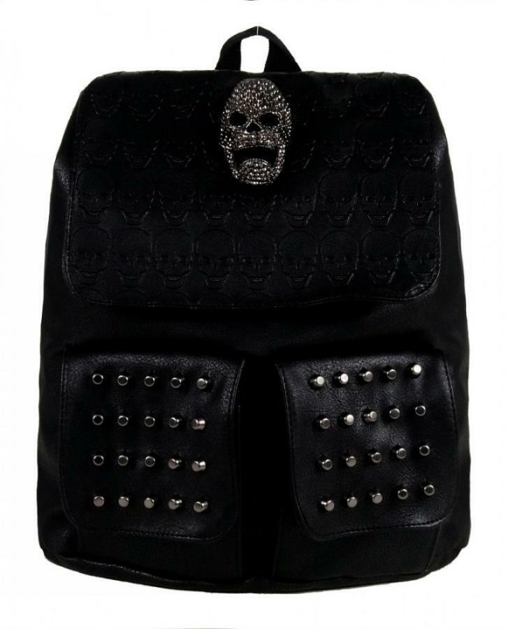 Mochila con bolsillos y Calavera GOTHX skullhead twin pocket Backpack G9
