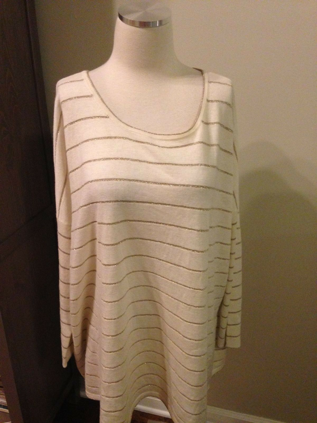 NWOT J. Jill Ivory gold Shimmer Stripe Drop Shoulder Tunic Sweater Large
