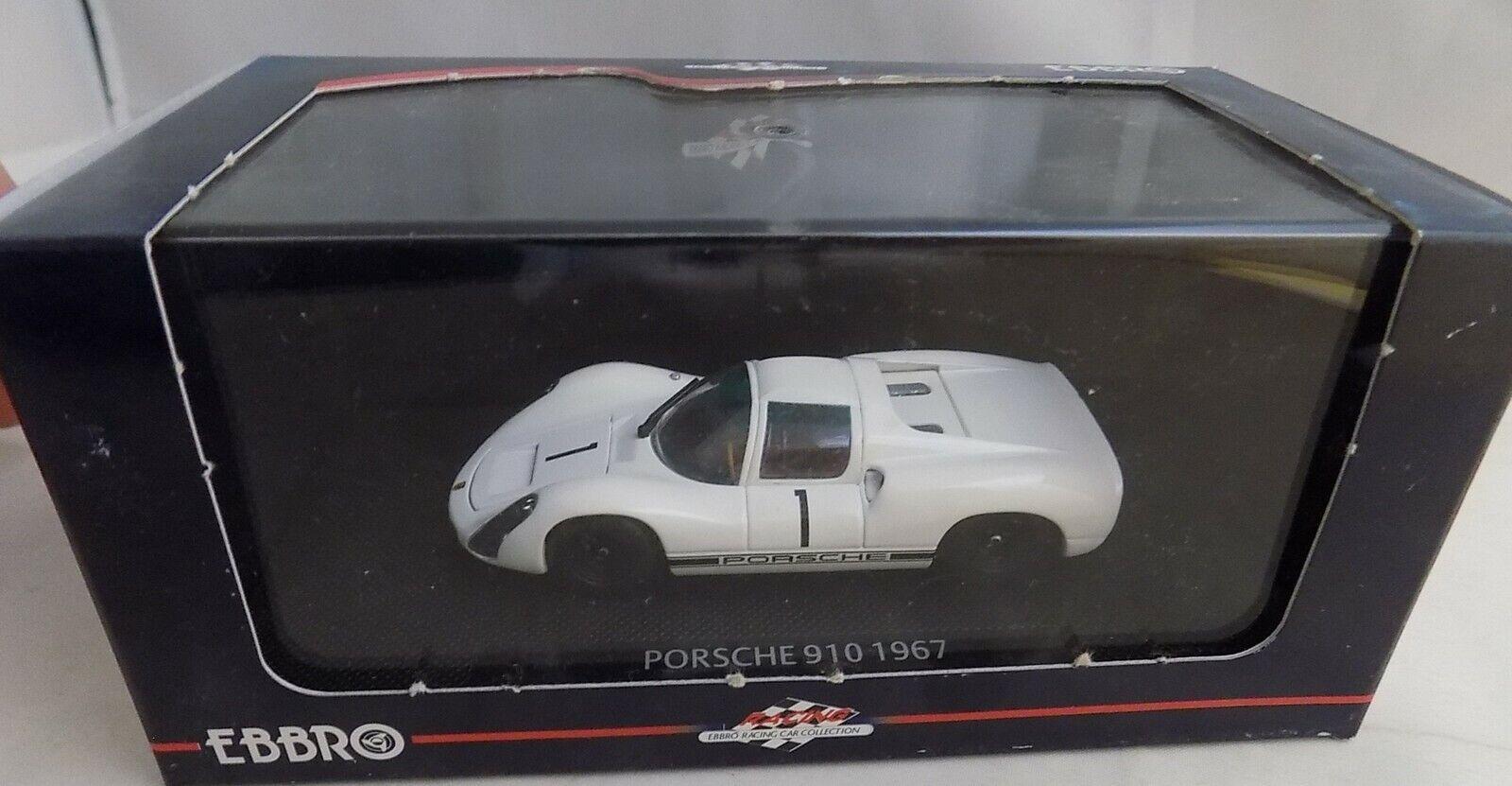 EBBRO 1 43 Porsche 910 LAUNCH MODEL 1967 White Diecast Car 43639 NEW IN BOX