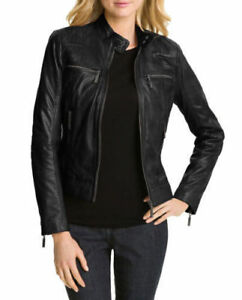 Lambskin Biker Real Fit Slim Leather Genuine Motorcycle Jacket New Women's qxw8fUCCE