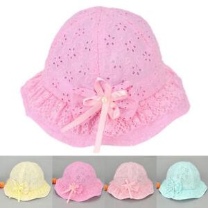 ec158de731a Baby Girls Boy Mesh Embroidered Beach Caps Bow Flower Cute Summer ...