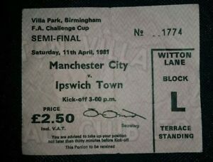 Image Is Loading 1981 ORIGINAL FA CUP SEMI FINAL TICKET MANCHESTER
