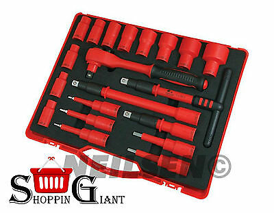 """Electricians 1000V Insulated 20Pc 1/2"""" In VDE Socket Ratchet Bit Tool Set CT2771"""