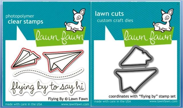 Lawn Fawn Photopolymer Clear Stamp & Die Combo  ~ FLYING BY ~ LF386, LF488