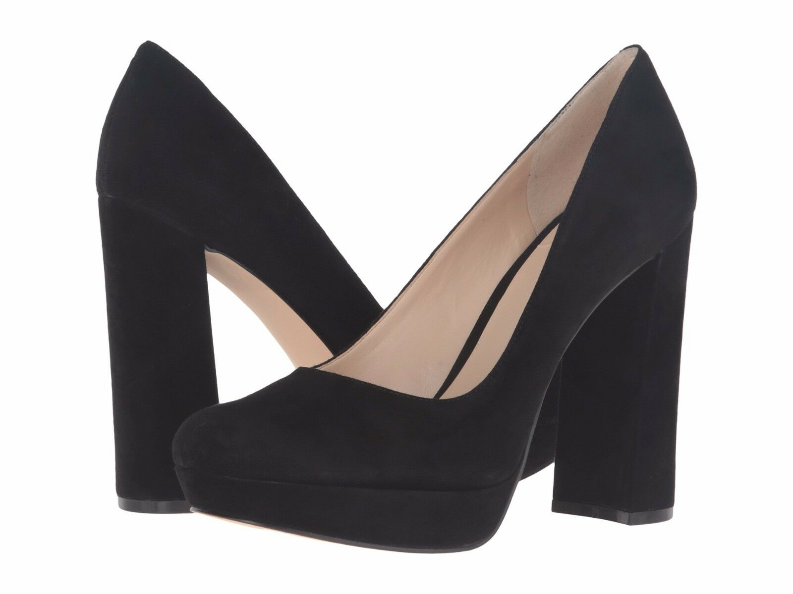 Nine West Delay 10 Black Suede Platform Round Toe Block Heel Dress Pump New