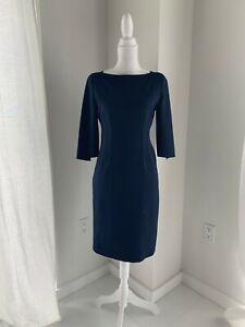 Elie-Tahari-Navu-Blue-Stretch-Poly-Sheath-Half-Sleeve-Career-Dress-SZ-6-S
