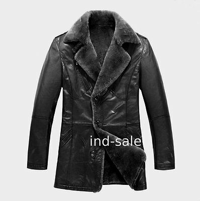 Custom Tailor Made All Size 100% Blazer Pea Coat Nappa Fur Leather Jacket NR