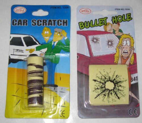 2 Pkgs Fake Car Scratch Decal /& Bullet Hole Stickers Joke Prank Trick Lot