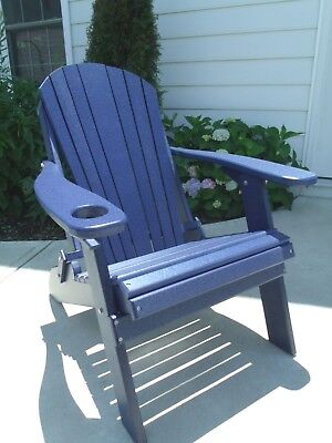 Awesome Folding Poly Adirondack Chair With Cup Holder Recycled Plastic Navy Blue 605930685725 Ebay Pdpeps Interior Chair Design Pdpepsorg