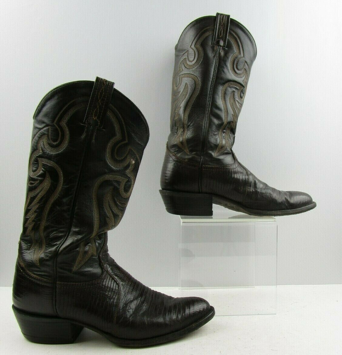 Men's Tony Lama Brown Lizard Leather Pointed Toe Cowboy Western Boots Size  8 D