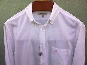 Camicia-BURBERRY-WHITE-PINK-stripes-logo-BURBERRY-ricamato-100-cotton-SIZE-M