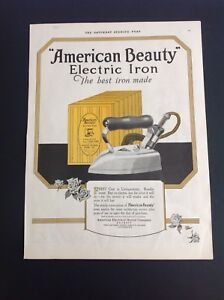 Vintage-1923-American-Beauty-Electric-Iron-Original-Color-Print-Ad-Original-VGC