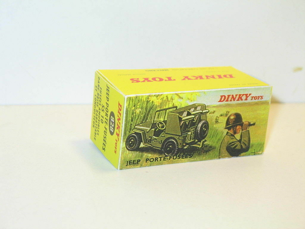 N35,  boite Jeep Willys porte fusées  militaire DINKY TOYS 828 repro