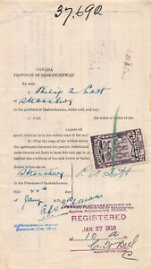 Canada-25c-Saskatchewan-Law-Stamp-Used-on-1910-Revenue-Document