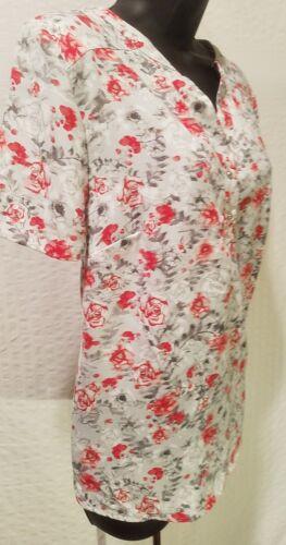 Red V Neck Sleeve Kensie Medium M Size Black Blouse Short Floral Top Gray 881qKwgE