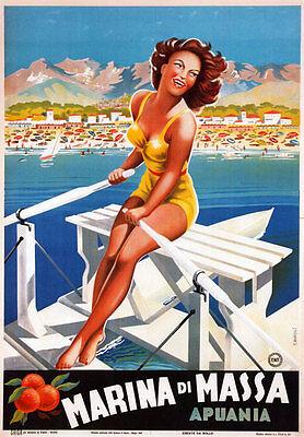 TV34 Vintage 1940's Italian Italy Marina Di Massa Tuscany Travel Poster A2 A3