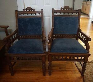 Vtg Carved Wood Gothic Arm Chairs Side Blue Velvet Fabric
