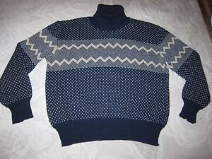 2c6e7adf31c2 Image is loading Vintage-navy-blue-wool-knit-turtleneck-pullover-sweater-