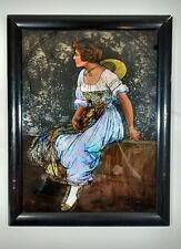 Vintage Antique Reverse Painting on Glass Peasant Girl Brazil Stamp Art